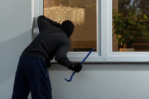 Burglar before burglary into the house horizontal